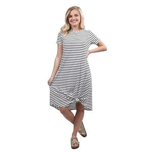Simply Southern Long Tie front stripe dress